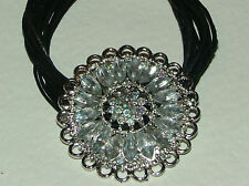 CLEAR CRYSTAL FLOWER SILVER PENDANT BLACK CORD NECKLACE