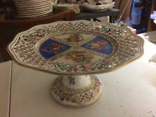 Antique Shumann Bavaria Porcelain Reticulated Dresden Portraits Floral's Compote
