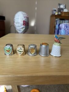 Thimble lot Of 5 Souvenirs OH, IL, WI, AK, And Enesco Bird