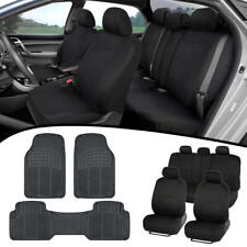 Full Set Black Seat Covers for Car Auto SUV Polyester Cloth w/ Rubber Floor Mats
