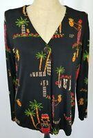 Chicos Travelers Cardigan Sweater Sz 3 XL Black Palm Trees Tropical Long Sleeve