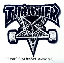 THRASHER Black Patch Logo Embroidery Iron on ,Sewing on Clothes