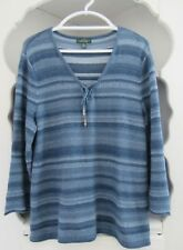 Lauren Jeans Co Tunic Sweater Womens Size XL Blue Stripe Long Pullover Top LRL