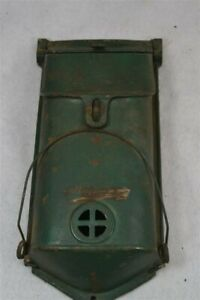 antique cast iron mail box numbered old green paint peep hole paper holder