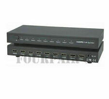 1x8 8-Port HDMI Video Splitter Amplifier Repeater Box Hub 3D 1080p 1-In 8-Out