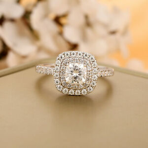 14K Solid White Gold Cushion Cut 5mm Moissanite Double Halo Engagement Ring