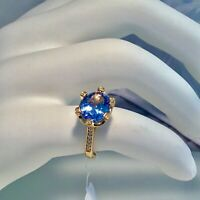 NWT SUZY LEVIAN 14 K GOLD PLATED STERLING SILVER BLUE TOPAZ RING SIZE 8.5