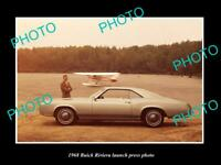 OLD POSTCARD SIZE PHOTO OF 1968 BUICK RIVIERA COUPE CAR LAUNCH PRESS PHOTO