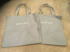 """West Elm Gray Canvas Shopping Bags. Set Of 2. 16"""" x 16"""". Brand New."""