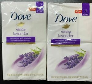 DOVE Beauty Bar Relaxing Lavender Chamomile Moisturizing Cream 3.75 oz 6-Pack x2