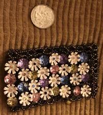 Betsey Johnson Girlie Grunge White Daisy Flower Crystal Oil Slick THICK Bracelet