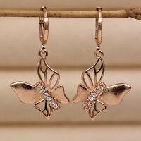 Drop Earrings 1.4' Hollow Butterfly Laser plating 18K Gold Filled Zircon Hoop HB