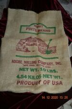no beans Vintage Sombrero Recleaned PINTO BEANS Burlap sack Dove Creek Colorado