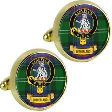 Mens Cufflinks Sutherland Scottish Clan Crest Brass Finish Presentation Boxed