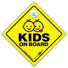 Kids On Board Car Sign, Baby On Board Sign, Kid in Car Suction Cup Sign