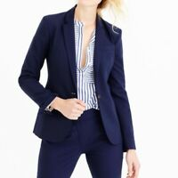 J.Crew Womens Super 120'S Suit Jacket Blazer Size 0 Navy BLue 100% Wool Lined L9