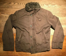 Abercrombie Boys Adirondack Jacket Size L Brown Cotton Faux Fur Lining Youth