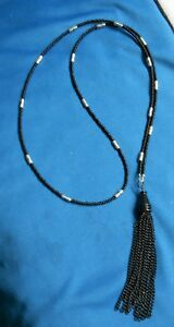 Black Seed beads & hematite - Necklace with long Black Chain Tassel