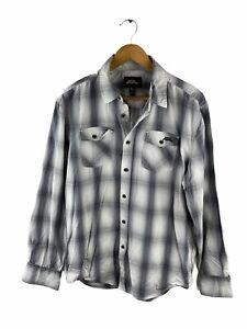 No Fear Button Up Shirt Men Size L Black Check Long Sleeve Pockets Collared Logo
