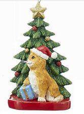 Kurt Adler ORANGE TABBY CAT with Tree on Base Christmas Ornament--Personalizable