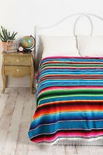 #203 New Style Falsa Blanket Classic Mexican Sarape Pattern Hand Woven Turquoise