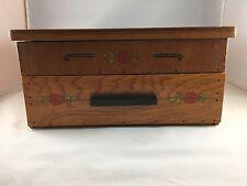 Vintage Primitive Handmade Wood Sewing Box With Drawer