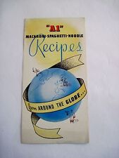 "Great Vintage Advertising Recipe Booklet for ""A1"" Flour - Macaroni & Noodles *"