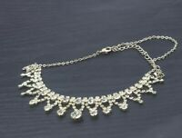 "Vintage Silver Toned Rhinestone Statement Bib Collar Necklace 18"" a34"