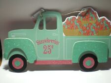 New! Vintage Spring Green TruckStrawberries woodSign Spring Fling Decor /Wreath
