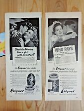 ETIQUET DEODERANT CREAM Magazine Ad Print 1943 WWII Lot of 2 Who Pays Marine