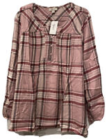 New Style Co Women's Size XL Long Sleeve Top Plaid Split Neck Top Tunic Red Pink