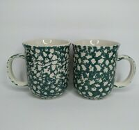 Tienshan Set of (2) Folk Craft Moose Country Mugs Cups Forest Green Sponge