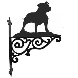 Staffordshire Bull Terrier Dog Metal Garden Ornamental Hanging Bracket
