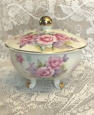 Vintage Lefton candy trinket dish with lid hand painted