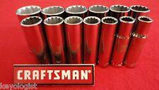 """CRAFTSMAN Socket Set 1/2"""" drive SAE 12pt DEEP 13pcs LASER ETCHED"""