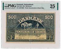 DENMARK banknote 500 Kroner 1941 PMG VF 25 Very Fine grade