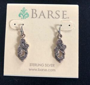 """NWT BARSE Thailand Sterling silhouette ornate 1 1/8"""" dangle earrings Fr. hooks"""