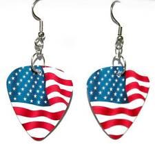 2 SIDED NYLON USA FLAG GUITAR PICK DANGLE EARRINGS (GP008)