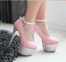 Hot&Sexy Women's Squins Platform High Heels Stiletto Stripper Dance Shoes 16CM