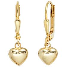 Echtem Edelmetall-Ohrschmuck ohne Steine aus Gelbgold mit Herzen- & Liebe