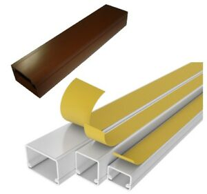 Electrical Cable Trunking Size 3M Wire Conduit Tidy Plastic Cover White Brown IT