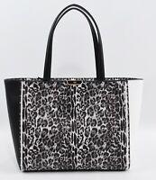 CAVALLI CLASS SUMMER LEO Animal Print Tote, Shopper Bag, Handbag, White/Black