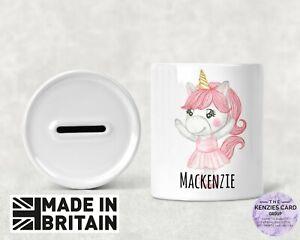 Personalised Any Name Savings Children Unicorn Ballerina Money Box Piggy Bank