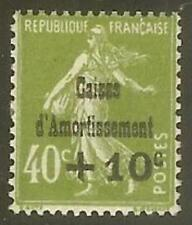 "FRANCE STAMP TIMBRE 275 "" CAISSE AMORTIS. +10c S.40c SEMEUSE OLIVE"" NEUF xx LUXE"