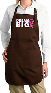 Ladies Breast Cancer Awareness Dream Big Length Apron with Pockets