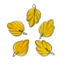 Amber Frosted Glass Leaf Charm Pendants Wired 15mm PK5 (A95/4)