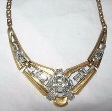 HTF McClelland Barclay Crystal Clear Rhinestone Gold Necklace Signed