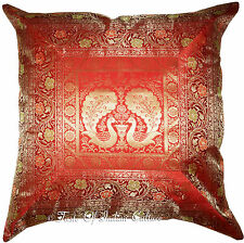 "Large Red 26"" Floor Pillow Cushion Cover Silk Brocade Peacock Throw INDIAN Decor"