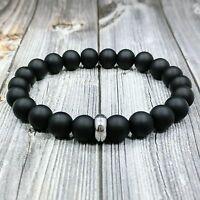 """MODERN 8""""L STAINLESS STEEL 10mm Matte Black Onyx Gemstone Beaded Men's Bracelet"""