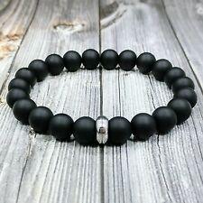 Modern 8 L Stainless Steel 10mm Matte Black Onyx Gemstone Beaded Men S Bracelet